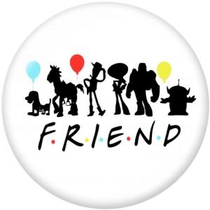 Botones a presión de vidrio con estampado de música Friends de 20 mm