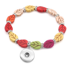 1 buttons With  snap leaf Natural stone Elasticity  bracelet fit18&20MM  snaps jewelry