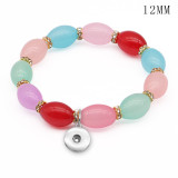 1 buttons With  snap Glass beads Elasticity  bracelet fit 12MM snaps jewelry