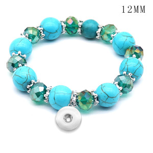 1 buttons With  snap turquoise Elasticity  bracelet fit12MM  snaps jewelry
