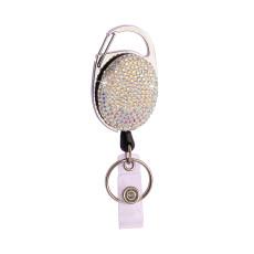 Diamantbesetzte Easy-Pull-Schnalle Metall ovale Volldiamant-Teleskopschnalle Kreatives Abzeichen Hängende Schnalle ID-Schnalle