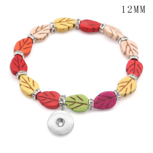 1 buttons With  snap leaf Natural stone Elasticity  bracelet fit12MM  snaps jewelry