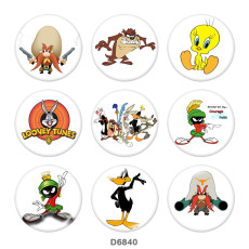 Botones a presión de vidrio con estampado de pato de conejo de dibujos animados de 20 mm