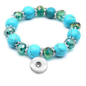 1 buttons With  snap turquoise Elasticity  bracelet fit18&20MM  snaps jewelry