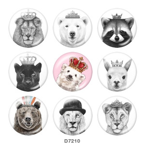 20MM  Tiger   Print   glass  snaps buttons