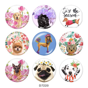 20MM  Flower   Dog   Print   glass  snaps buttons