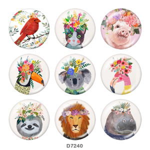 20MM  Cat   Pig   Print   glass  snaps buttons