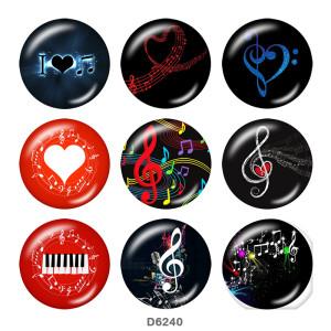 20MMミュージックプリントガラススナップボタン