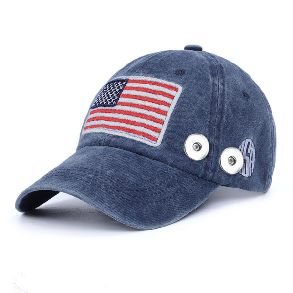 American flag summer sunscreen fit 18mm snap button beige Peaked cap