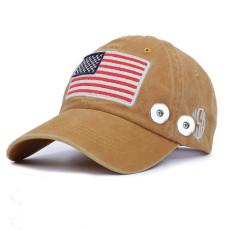 アメリカ国旗の夏の日焼け止めフィット18mmスナップボタンベージュピークキャップ