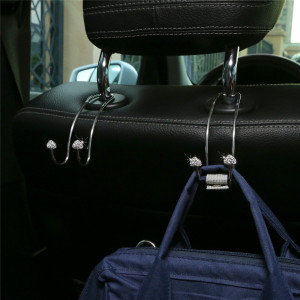 2pcs / lot loveheart Hook diamantbesetzter Edelstahl-Auto-Rückenlehnenhaken Handyhalter