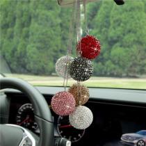 Espejo retrovisor de coche con colgante de bola de cristal para coche lleno de adornos de decoración de diamantes con cadena de acero inoxidable