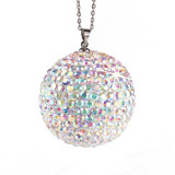 Car crystal ball pendant diamond car rearview mirror full of diamond decoration ornaments with stainless steel chain