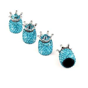 4 unids / lote tapa de válvula de diamante de corona, tapa de neumático de coche modificada creativa, tapa de núcleo de válvula de diamante