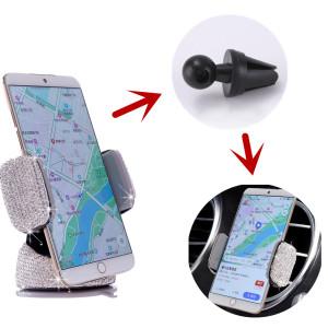 Diamantbesetztes Auto Handyhalter Multifunktions-Luftauslass Auto Navigationshalterung Auto mit Saugnapf rotierenden Handyhalter