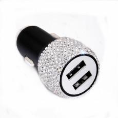 新しいダイヤモンドカー携帯電話安全ハンマー充電器デュアルUSB急速充電ダイヤモンドカー携帯電話アルミニウム合金カー充電器