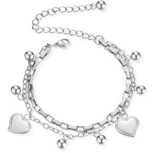 Двухслойный браслет love из нержавеющей стали, персонализированная цепочка-коробочка, покрытие из настоящего золота 18 карат