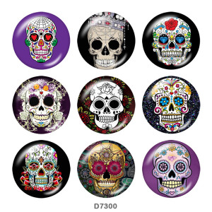 20MM  skull    Print   glass  snaps buttons
