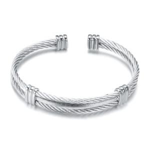 Четырехцветный браслет из титановой стали с пружинной проволокой, эластичный браслет из стальной проволоки, браслет из нержавеющей стали с тросом