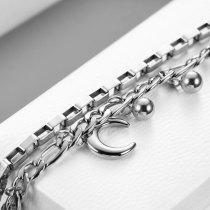 Mehrschichtiges personalisiertes rundes Perlenmondarmband aus rostfreiem Stahl