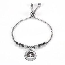 Pulsera de acero de titanio de longitud ajustable con diamantes Pulsera de árbol de la vida de acero inoxidable