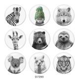 Стеклянные кнопки с принтом Fox Tiger Print 20 мм