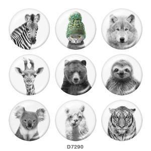 20MM Fox Tiger Print Glasschnappknöpfe