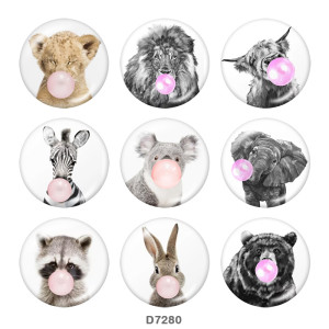 20MM    Elephant   Tiger   Print   glass  snaps buttons