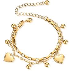 Bracelet d'amour en acier inoxydable à double couche, chaîne de boîte personnalisée, plaqué or véritable 18 carats