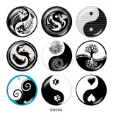 20MM  yin and yang   Print   glass  snaps buttons