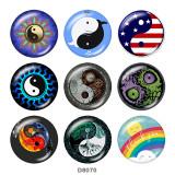 20 MM Yin und Yang Muster Drucken Sie die Druckknöpfe aus Glas