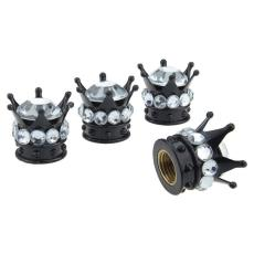4 Stück / Los Crown Diamond Ventilkappe, kreativ modifizierte Autoreifenkappe, Diamantventilkernkappe