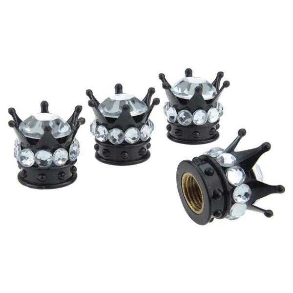 4本/ロットクラウンダイヤモンドバルブキャップ、クリエイティブ改造車用タイヤキャップ、ダイヤモンドバルブコアキャップ