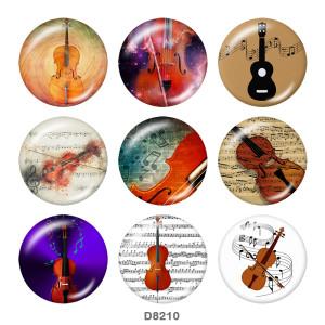 20MM Music Print Glas-Druckknöpfe