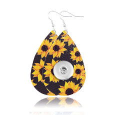 Sunflower Leather Snap Earring Fit 20MM Snaps Style Schmuck