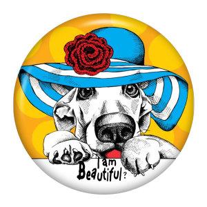 Эмалевые металлические кнопки с рисунком собаки 20 мм