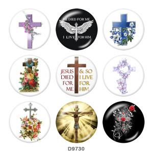 20MM Cross Faith Print Glasschnappknöpfe