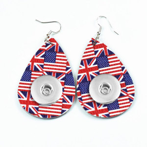 Pendiente a presión de cuero con bandera nacional que se ajusta a las joyas de estilo broches de 20 mm