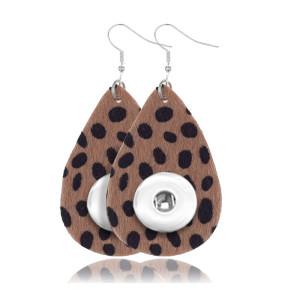 Pendiente a presión de cuero de leopardo apto para joyas de estilo broche de 20 mm