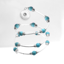 1 buttons With turquoise Natural stone Elasticity  bracelet fit18&20MM  snaps jewelry
