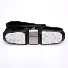 Autodrehender Brillenhalter, Autokartenhalter, Geldscheinhalter, diamantbesetzter Brillenhalter