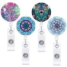 Мандала выдвижная легко вытягивающаяся пряжка с яркими цветами легко вытягивающаяся пряжка для значка