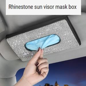 Visera para el sol del coche caja de pañuelos asiento de cuero respaldo titular de pañuelos con incrustaciones de diamantes moda creativa caja de bombeo de coche con diamantes de imitación almacenamiento de máscara