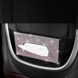 Car sun visor tissue box leather seat back diamond-studded tissue holder creative fashion rhinestone car pumping box mask storage