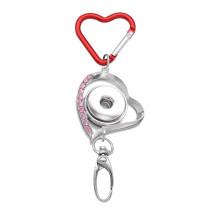 Брелок со стразами в форме сердца, многофункциональный крючок, крючок для документов, автомобильная сумка, крючок, подходит 18 и 20 мм, ювелирные изделия с кнопками