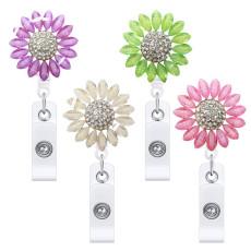 Металлический подсолнух с бриллиантами, выдвижная легко вытягивающаяся пряжка, вращающаяся легкая пряжка, клипса для значка