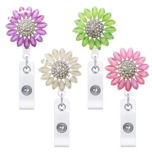 Metall-Sonnenblumen-Diamant-Nieten-versenkbare, leicht zu ziehende, leicht zu ziehende, leicht zu ziehende ID-Schnallen-Abzeichenklammer