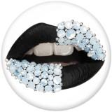 20 MM Lippen Drucken Sie die Druckknöpfe aus Glas