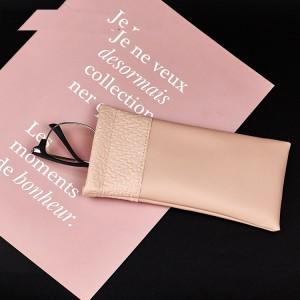 18 * 9 CM Bolsa de cuero para gafas con boca de bala Bolsa de gafas portátil portátil personalizada Bolsa de almacenamiento de gafas a prueba de polvo y arañazos