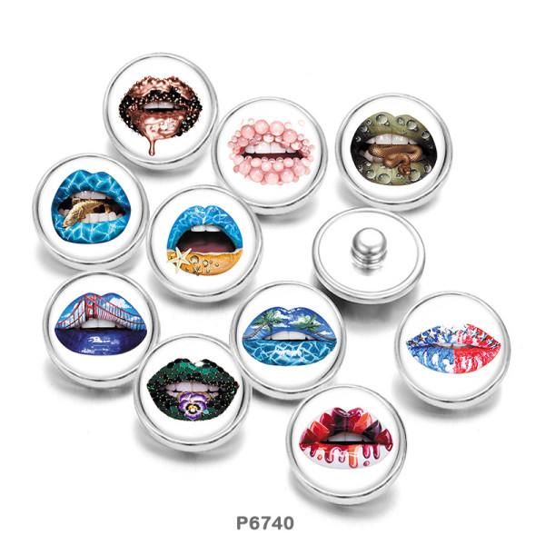 Botones a presión de vidrio con estampado de labios de 20 mm